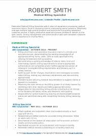 Resume Specialists Billing Specialist Resume Samples Qwikresume
