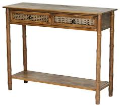 wallace 2 drawer 1 shelf console table with cane detail w22359 fh