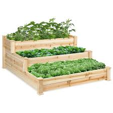 best choice products 3 tier wooden elevated vegetable garden bed planter kit for outdoor gardening