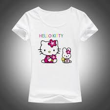 Hello Kitty Size Chart 2017 New Lovely Hello Kitty Cartoon T Shirts Women Summer