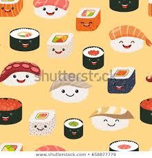 cute sushi wallpaper. Fine Cute Sushi Emoji Seamless Pattern Cartoon Style Emoticon Kawaii Character  Hand Draw Cute Japanese On Cute Wallpaper I