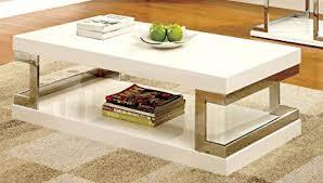 White modern coffee table Furniture Image Unavailable Amazoncom Amazoncom Furniture Of America Idf4486c Adina Modern Coffee Table