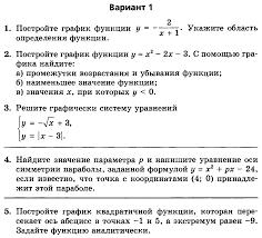 Методическая разработка по алгебре в классе УМК Мордкович А Г  Контрольная работа № 5 по теме Функция y ax2 bx c