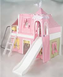 Pink Green Yellow Princess Castle Bed With Slide By Maxtrix Kids