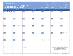 2017 calendar template screenshot