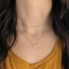 fringe 14k gold cubic zirconia necklace