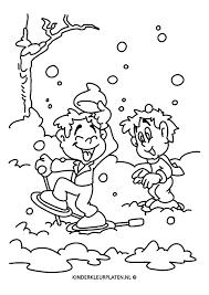 Kleurplaat Sneeuwschoenen Sneeuwpret Jaargetijden