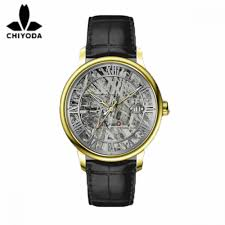 chiyoda luxury 24k gold watch with classical meteorite dial swiss movement automatic watch leather strap belt