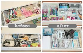 desk drawer organization view from the fridge