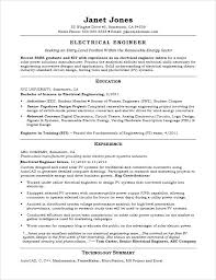 Electronic Engineer Resume Sample Entry Level Electrical Engineer