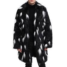 mens faux fur coat black white winter warm mid long outerwear jacket cod