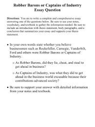 industrialization essay robber barons or captains of industry essay question directions