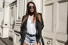 picture of blogger victoria vanness wearing the performance leather classic asymmetrical cycle jacket w