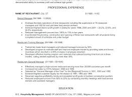 resume for restaurants restaurant manager resume objective restaurant management resumes