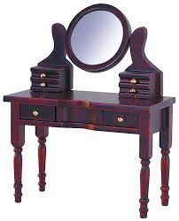 dressing table and round mirror