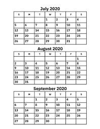 June July 2020 Calendar July August And September 2020 Calendar Printable