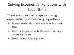 solving exponential functions with logarithms