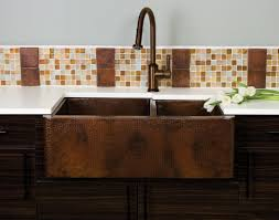 Kitchen Sinks For Granite Countertops Apron Copper Kitchen Sink Installed With Granite Countertops And