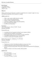 40 Electronic Assembler Resume Adorable Assembler Resume