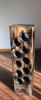 Wine rack from reclaimed farm house beam
