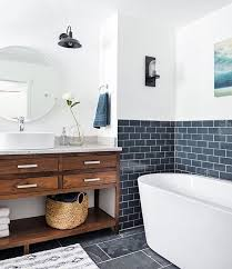 the bathing space in this rustic bathroom is highlighted with navy subway tiles tile t42