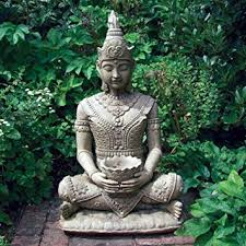 garden buddha statue. Contemporary Statue Peaceful Stone Buddha Statue  Large Garden Sculptures Inside Amazon UK