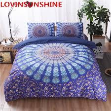 senarai harga bedding set bohemia style flower pattern printed dark blue duvet cover set pillowcases bed bedding cushion cover home textile terkini di