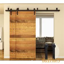 details about 4ft 16ft rustic bypass double sliding barn wood door hardware closet rail kit
