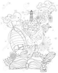 手描き落書き概要ボート話魔法と花飾り飾られていますベクトル禅アート