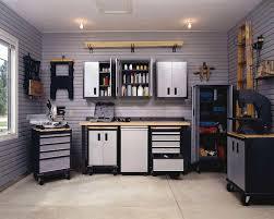 great tidy and efficient garage with husky workbench make it striking lighting
