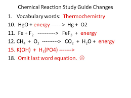 chemical reaction study guide changes