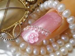 3D PEARL BEADS DESIGN FIMO CANE FLOWER ACRYLIC NAIL ART (NO ...