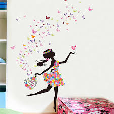 shijuehezi fairy girl wall stickers diy erflies flowers