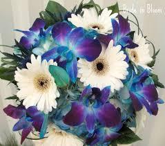 Bridal Bouquet Blue Orchid White Gerbera Daisy Wedding Bouquet