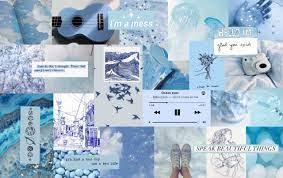 Light Blue Collage Laptop Wallpaper