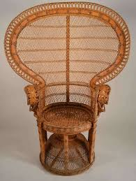 fine example of woven peacock chair large fan style back intricately woven rattan wicker