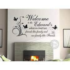 personalised family name welcome friends like family home wall sticker on personalised family name wall art with personalised family name welcome friends like family home wall