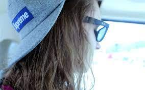 Wallpaper : girl, hat, glasses, hair ...