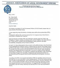 Letter World Letter From Jalgo Jamaica To The World Bank Stop Supporting Water