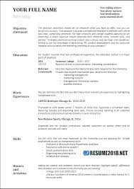 College Student Summer Job Resume Objective For Internship Resumes