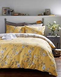 yellow and grey bedding set with fl