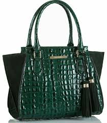 Brahmin Mini Priscilla Moore Emerald Suede and Leather Satchel for sale  online | eBay