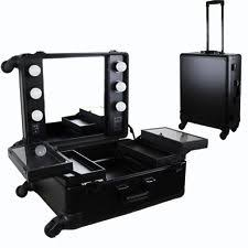 black pro studio artist train rolling makeup case with light wheeled organizer