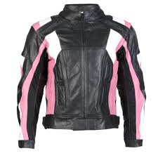 sentinel womens black pink leather motorcycle motorbike jacket with removable ce armour