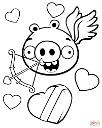 Minion Pig Valentine Theme Coloring Page Free Printable Coloring Pages