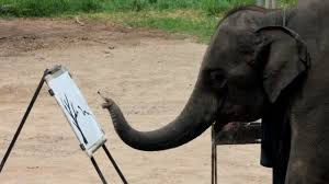 arts by elephants elephant art suda the elephant painting on canvas at mae taeng elephant camp you