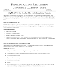 Financial Need Scholarship Letter Examples Scholarship