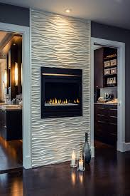 bedroom accent wall modern gass fireplace with white or silver textured wall