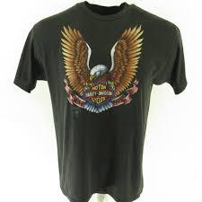 vintage 80s harley davidson t shirt mens xl 3d emblem eagle black