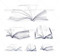 open book sketch set man made objects objects